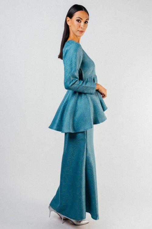 Turquoise Mira Embroidery Peplum Set