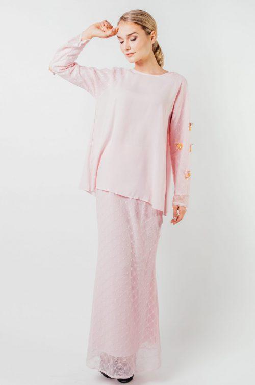 Pink Charlene Detailed Lace Set
