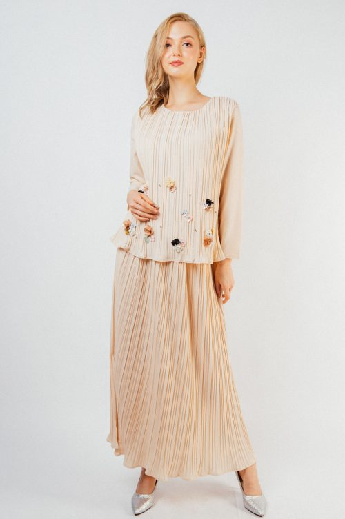 Beige Adelle Pleated Set