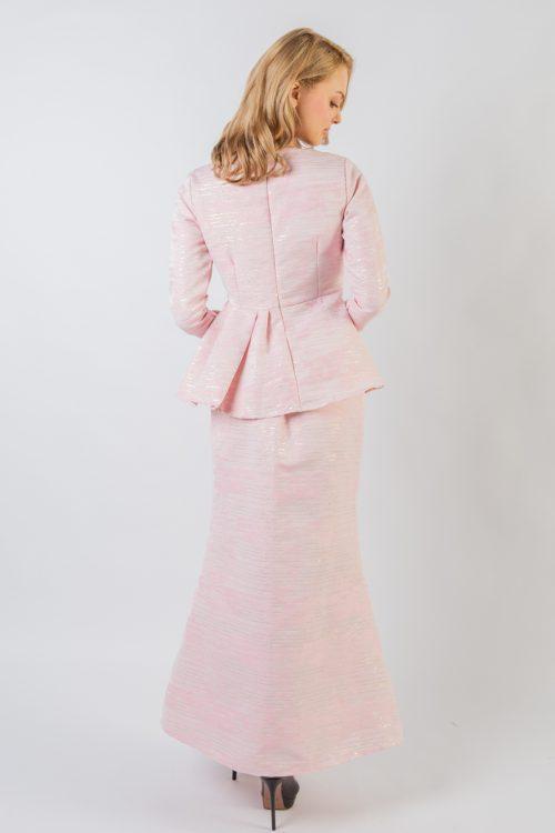Pink Arista Brocade Peplum Set