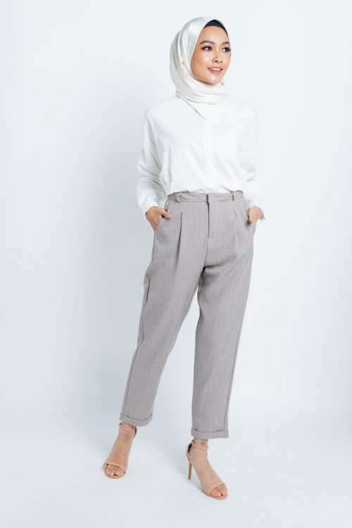 Dark Beige Smart Tapered Pants
