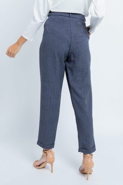 Blue Grey Smart Tapered Pants