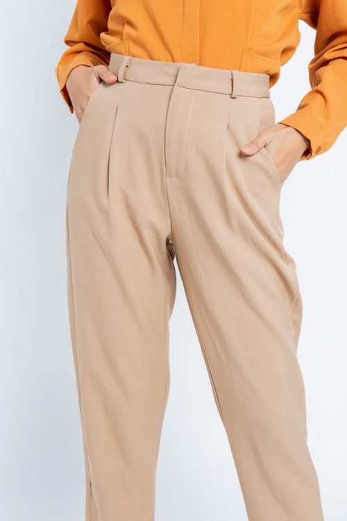 Brown Smart Tapered Pants