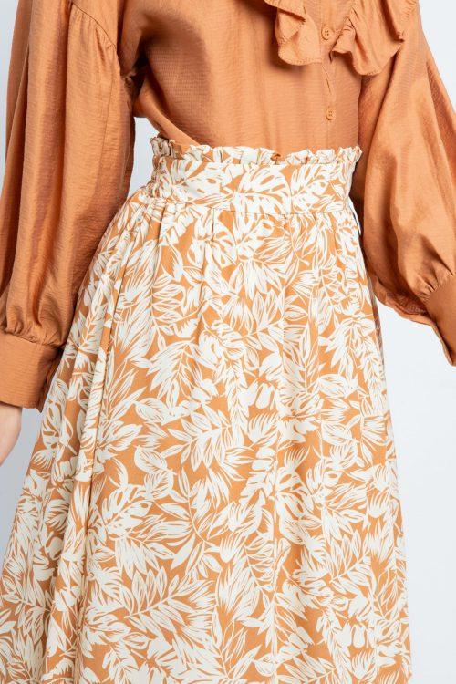 Brown Tropical Print Flared Skirt