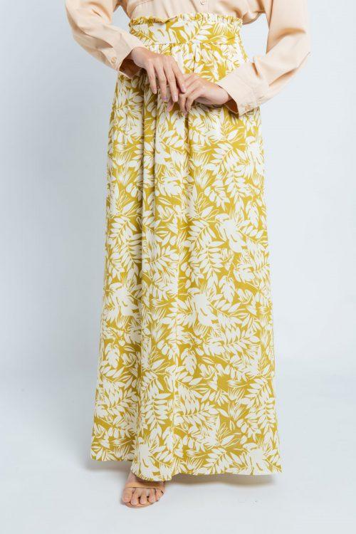 Mustard Green Tropical Print Flared Skirt