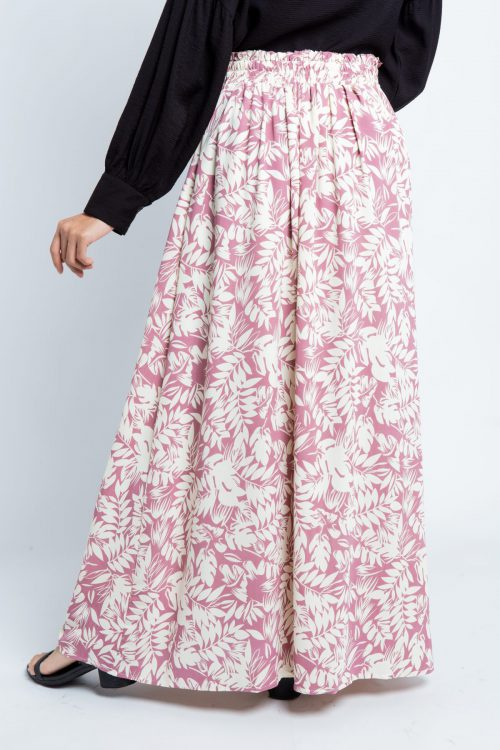 Purple Tropical Print Flared Skirt