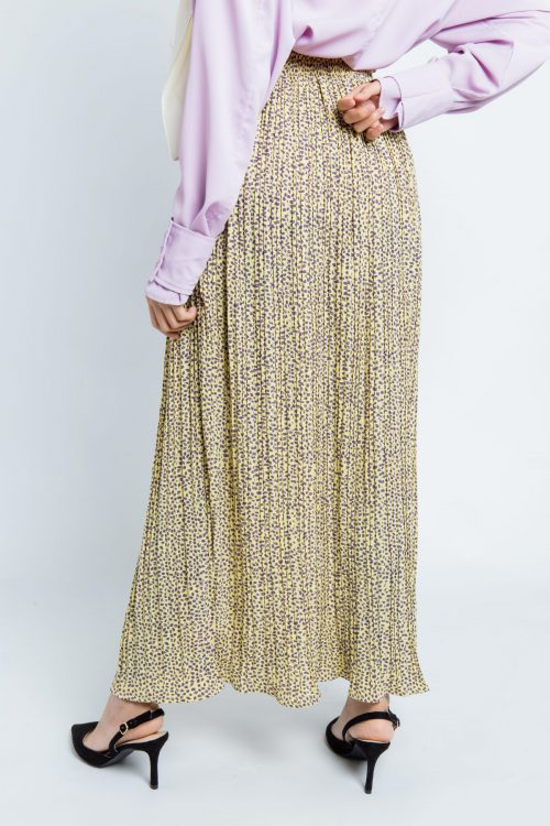 Light Yellow Petals Pleated Skirt