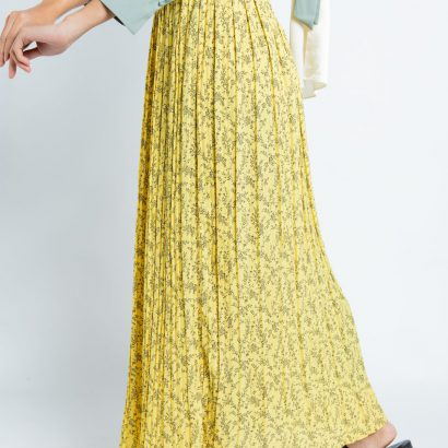 Yellow Petals Pleated Skirt