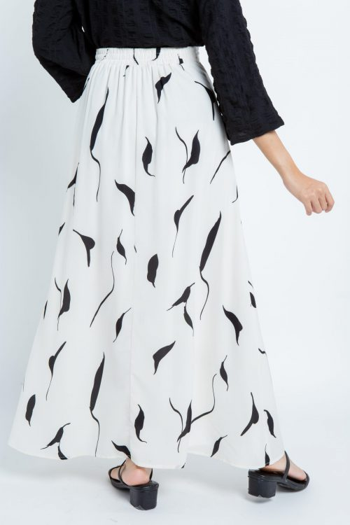 White Leaf Print Maxi Skirt