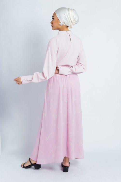 Lilac Pink Leaf Print Maxi Skirt