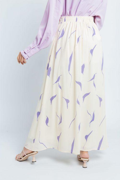 Vanilla Leaf Print Maxi Skirt