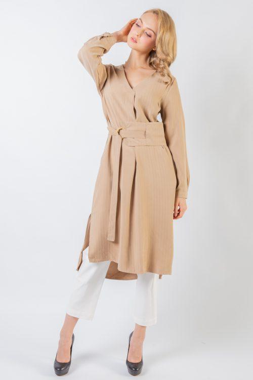 Brown Katy V Collar Tunic