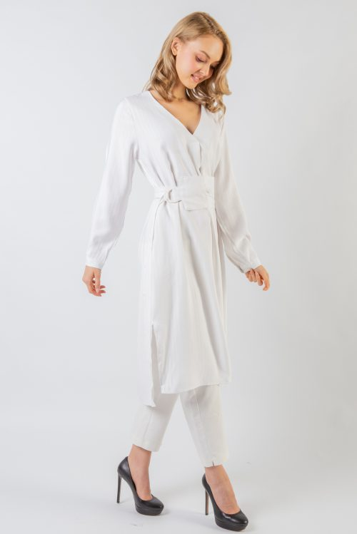 White Katy V Collar Tunic