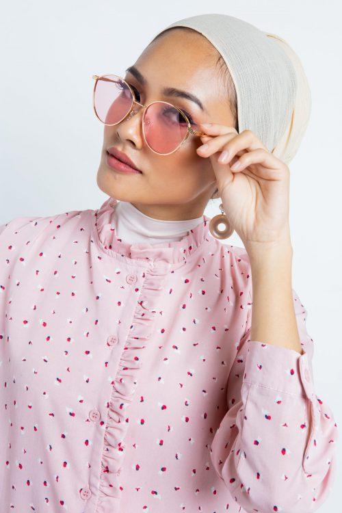 Pink Daisy Printed Ruffle Top