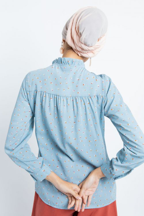 Dusty Blue Daisy Printed Ruffle Top