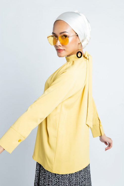Mustard Smock High Neck Blouse