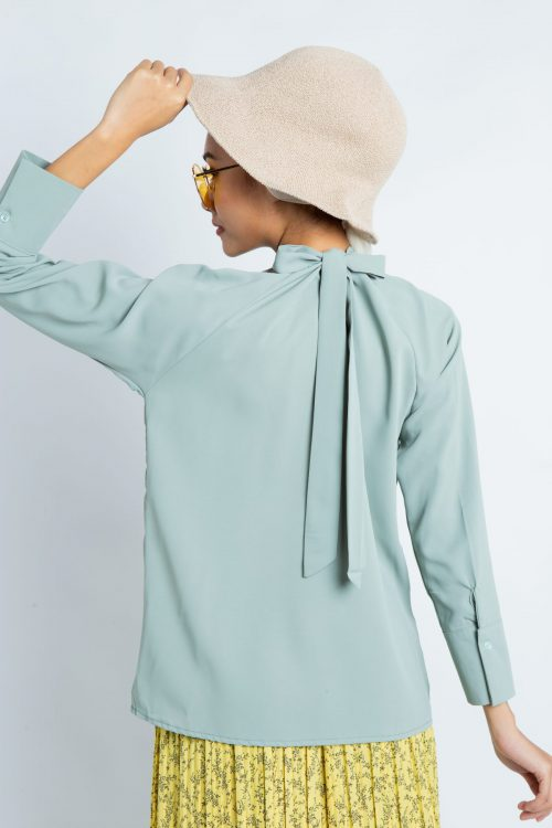 Dusty Green Smock High Neck Blouse