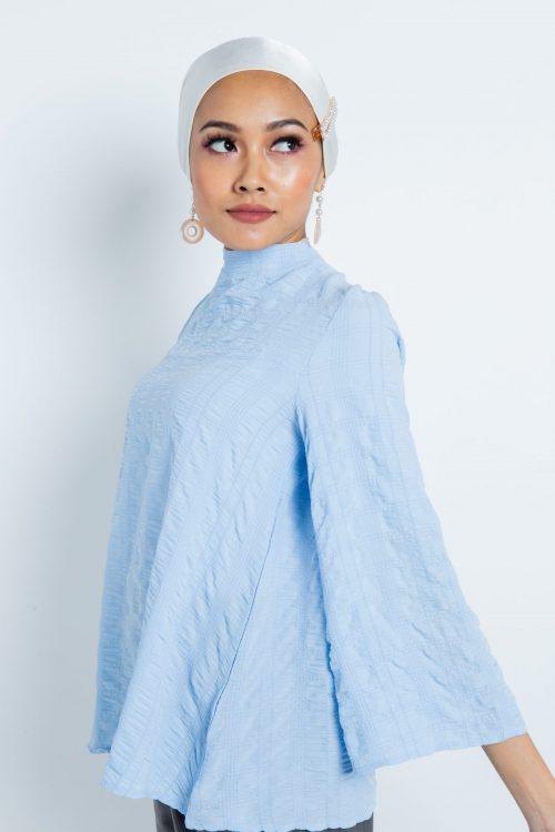 Blue Wrinkled Comfy Blouse