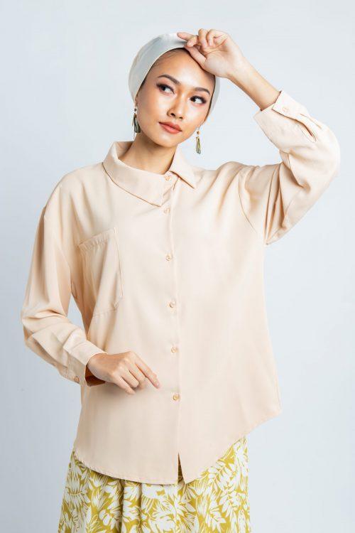 Beige Asymmetry Buttoned Shirt