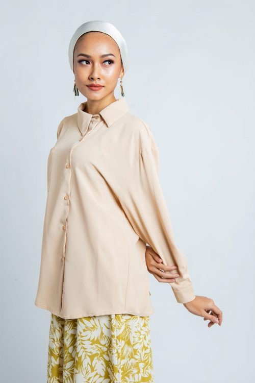 Beige Asymmetry Buttoned Shirt