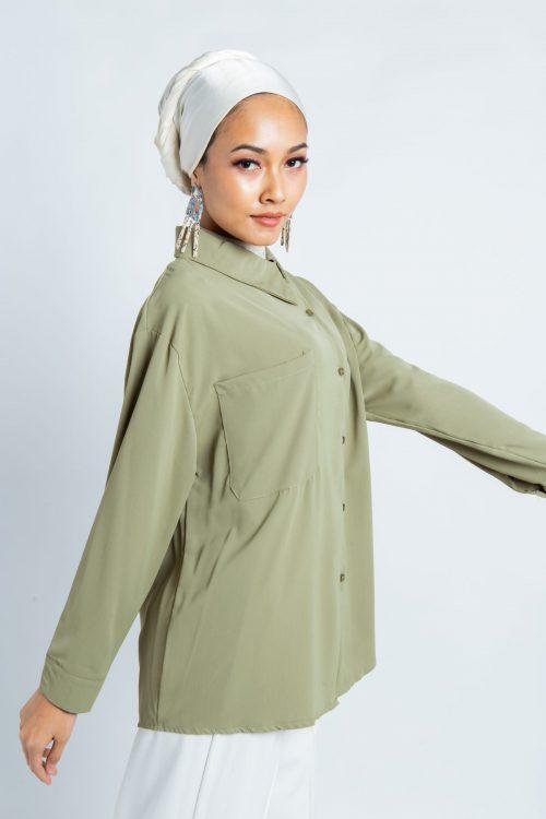 Green Asymmetry Buttoned Shirt