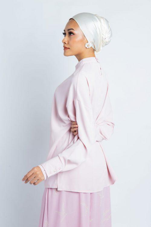 Pink Oversize Barrel Cuff Blouse