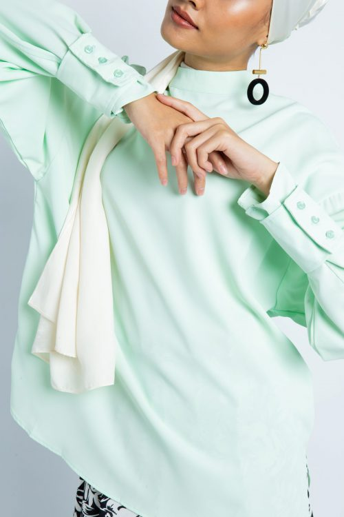 Pastel Green Oversize Barrel Cuff Blouse