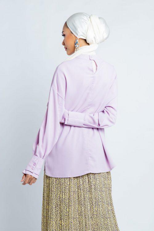 Lilac Oversize Barrel Cuff Blouse