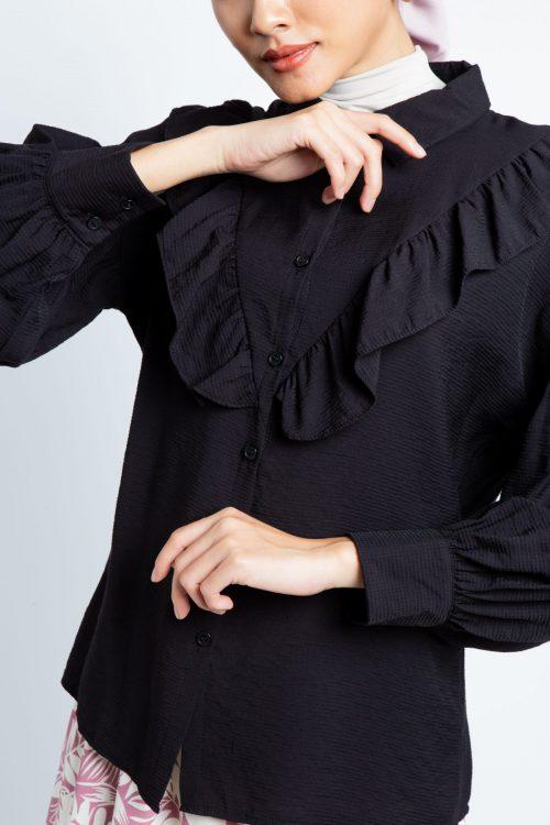 Black Puff Sleeves Flounce Shirt