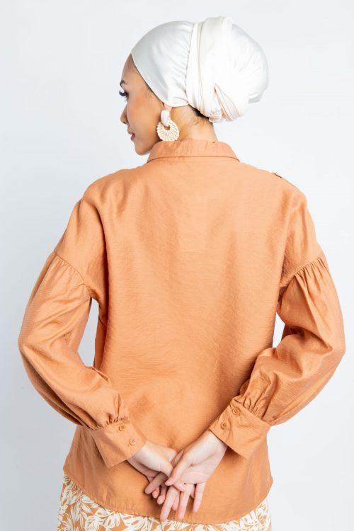 Brown Puff Sleeves Flounce Shirt