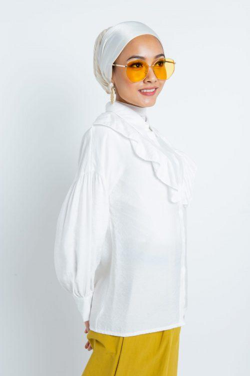 White Puff Sleeves Flounce Shirt