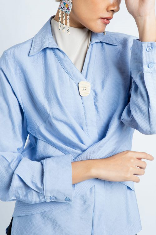 Blue Cross Wrap Around Blouse